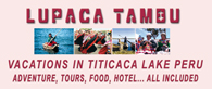 Peru vacations in our village in the heart of the Titicaca's lake Puno, meet our Aymara culture. Puno's old tradition, people, food, sports. You will be our village guest in our hotel or in our houses, food, lake sports, tours, culture, nature all included. Our village Chucuito Puno at 3820 msnm and 1000 inhabitants for your natural incas vacations